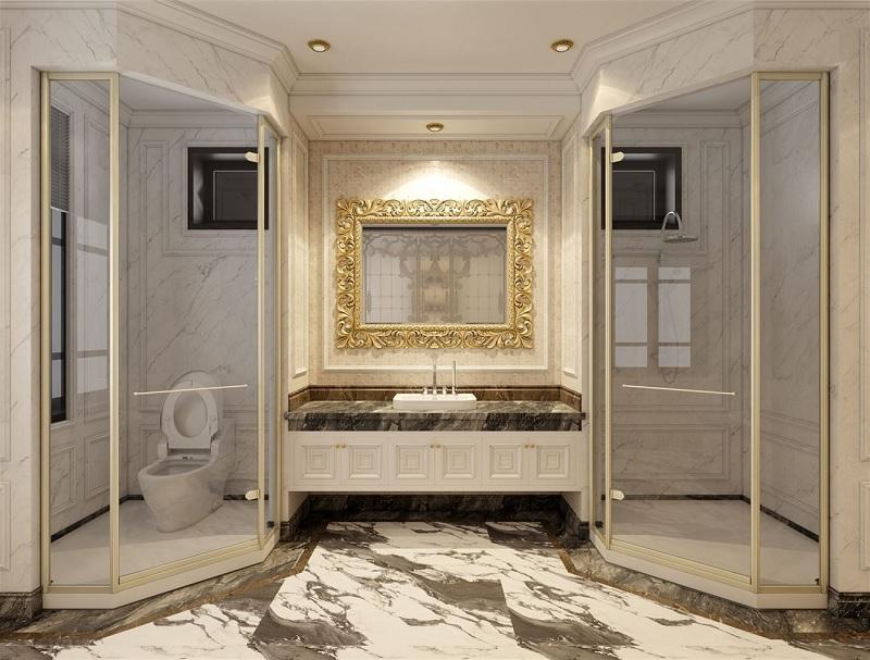 Mẫu nhà vệ sinh phong cách cổ điểnvới lối thiết kế đối xứng
