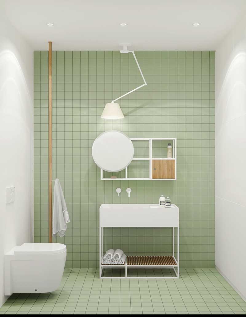 Mẫu nhà vệ sinh đơn giản với gam màu Pastel xanh lá mạ