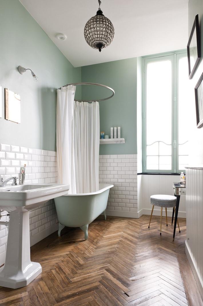 Mẫu nhà vệ sinh đơn giản với gam màu Pastel xanh rêu