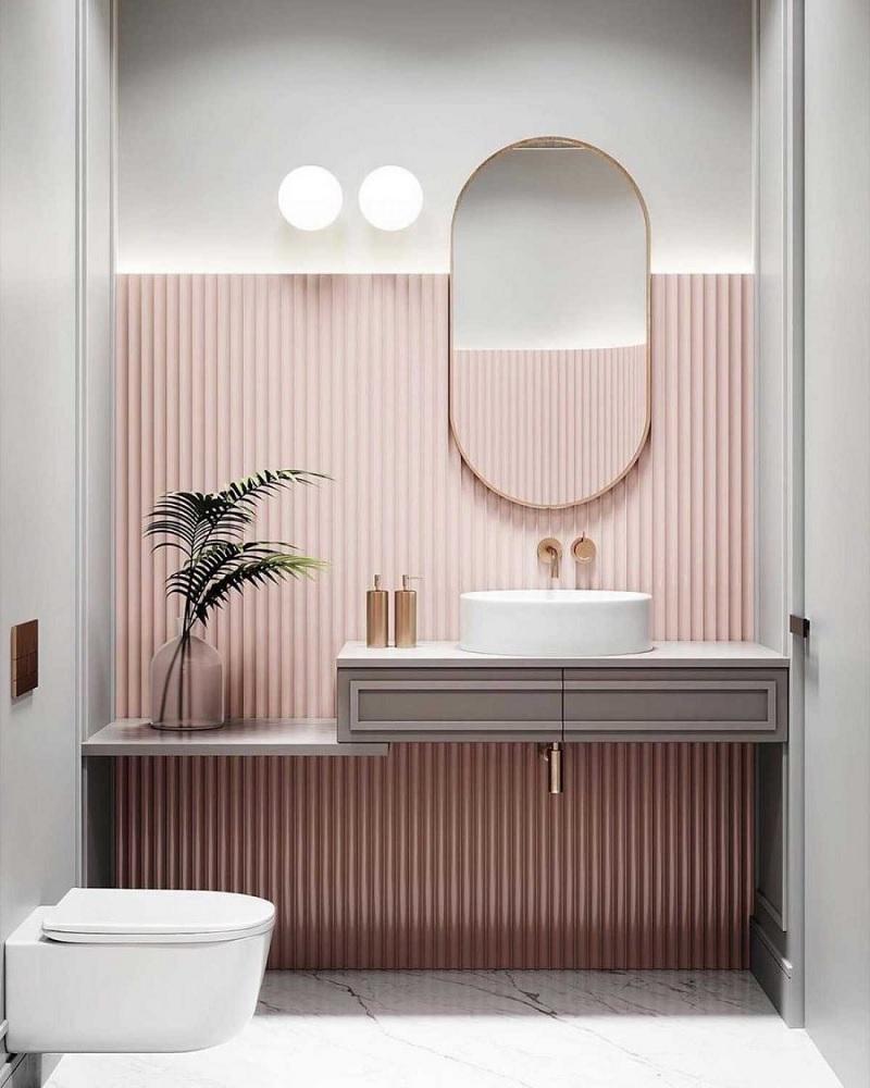 Mẫu nhà vệ sinh đơn giản với gam màu Pastel hồng nhạt