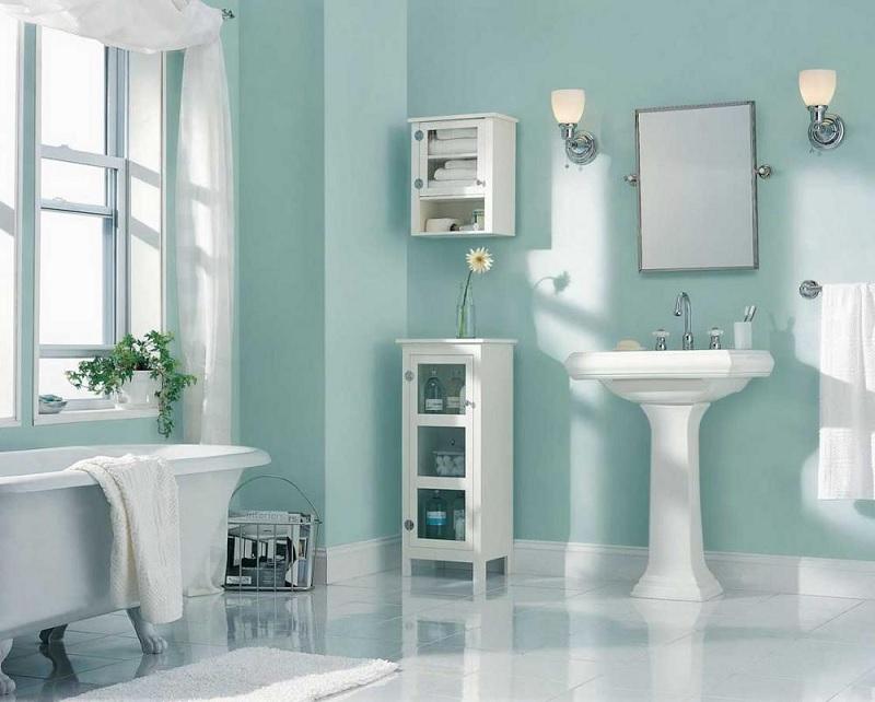 Mẫu nhà vệ sinh đơn giản với gam màu Pastel xanh nhạt
