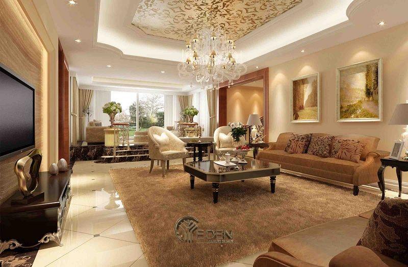 Thiết kế thi công nội thất biệt thự phòng khách – mẫu 5