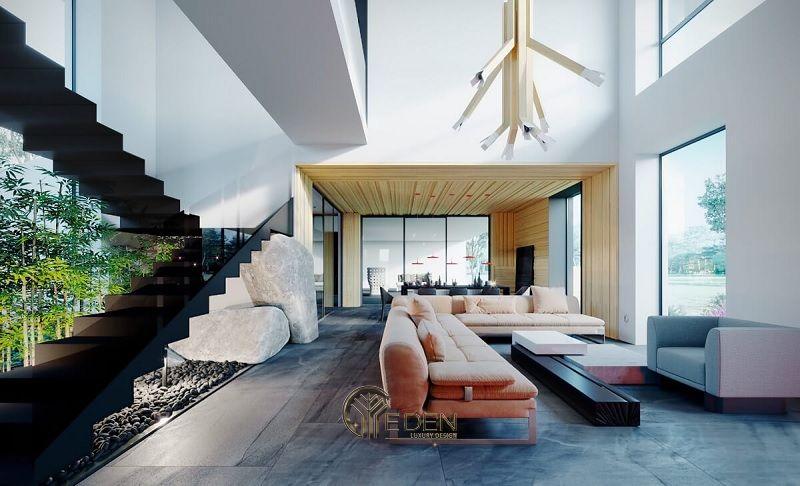 Thiết kế thi công nội thất biệt thự phòng khách – mẫu 6