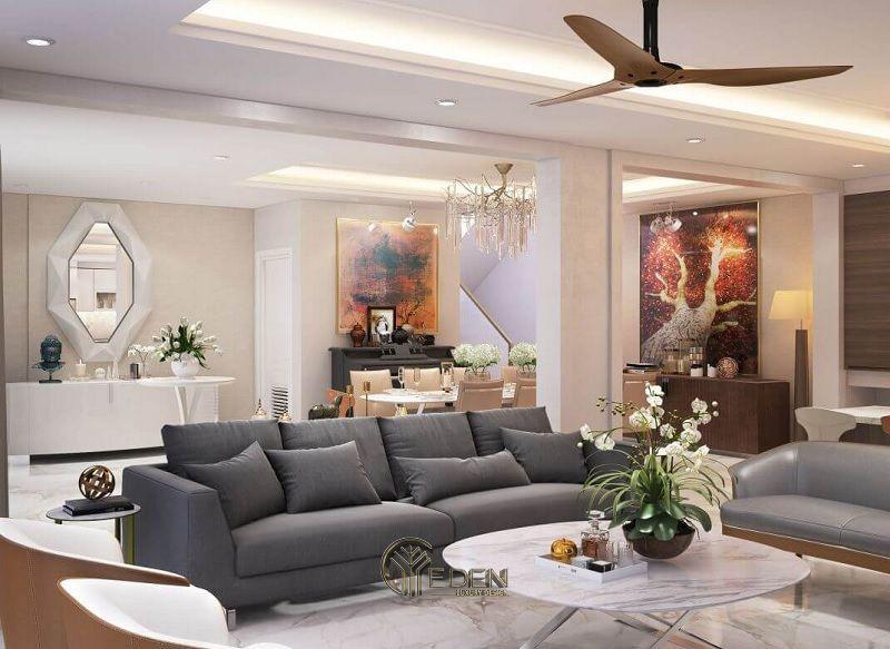 Thi công nội thất biệt thự phòng khách – mẫu 1