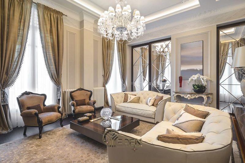 Thiết kế nội thất phòng khách với phong cách tân cổ điển (4)