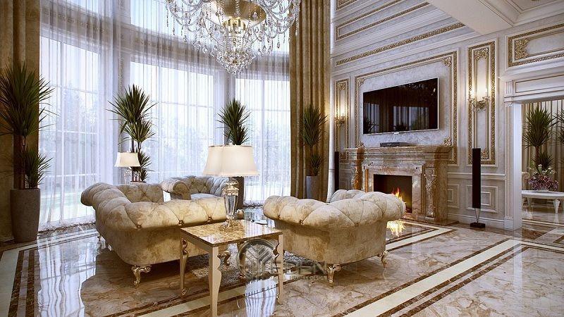 Trang trí nội thất phòng khách với phong cách tân cổ điển (3)