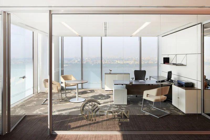 Thiết kế thi công nội thất văn phòng tại hà nội – Phòng giám đốc với không gian mở, hiện đại