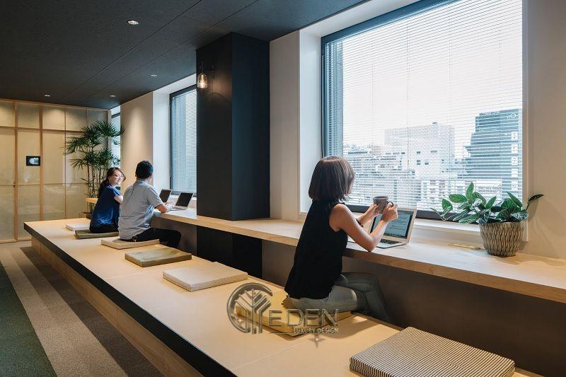 Thiết kế, thi công nội thất văn phòng Hà Nội – Phòng làm việc của nhân viên với đa dạng chỗ nồi, giúp nhân viên có cảm giác thoải mái như ở nhà, kích thích khả năng sáng tạo nhất