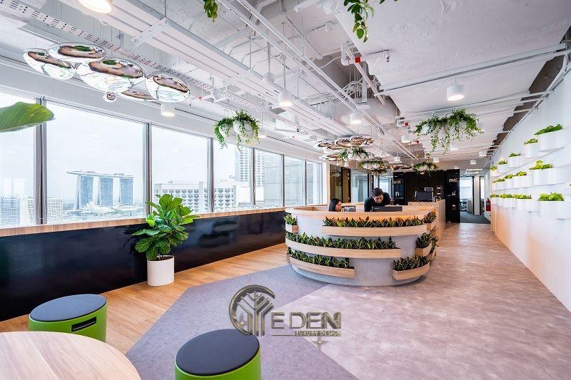 """Thiết kế, thi công nội thất văn phòng Hà Nội – Phòng làm việc của nhân viên theo phong cách """"Xanh"""""""