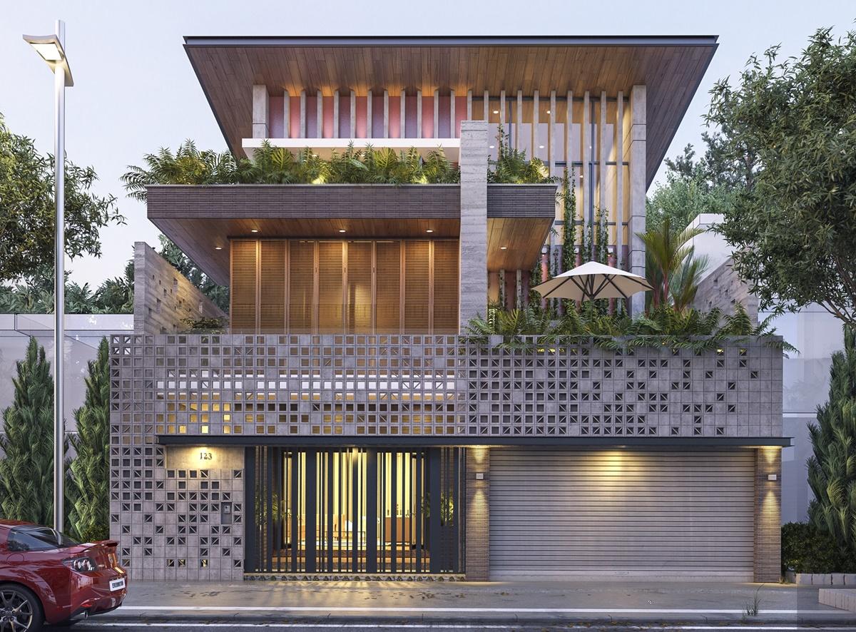 Mẫu thiết kế biệt thự 3 tầng có gara