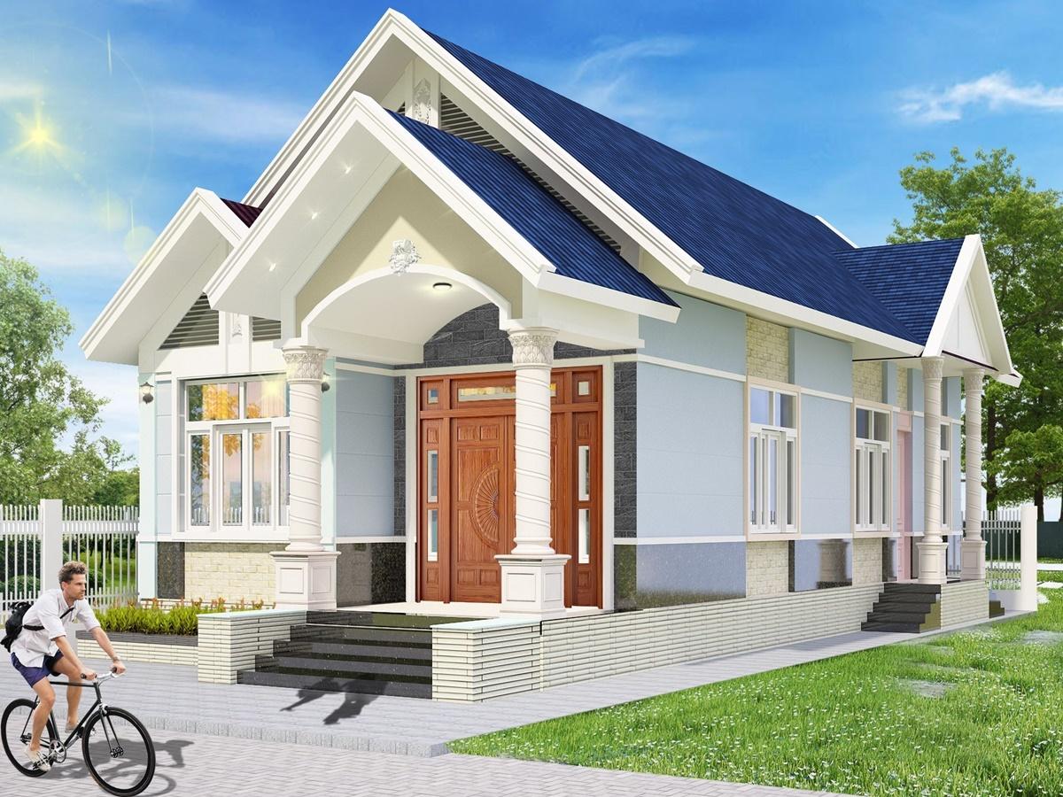 Nhà cấp 4 mái thái 5x12m ở nông thôn với 2 phòng ngủ