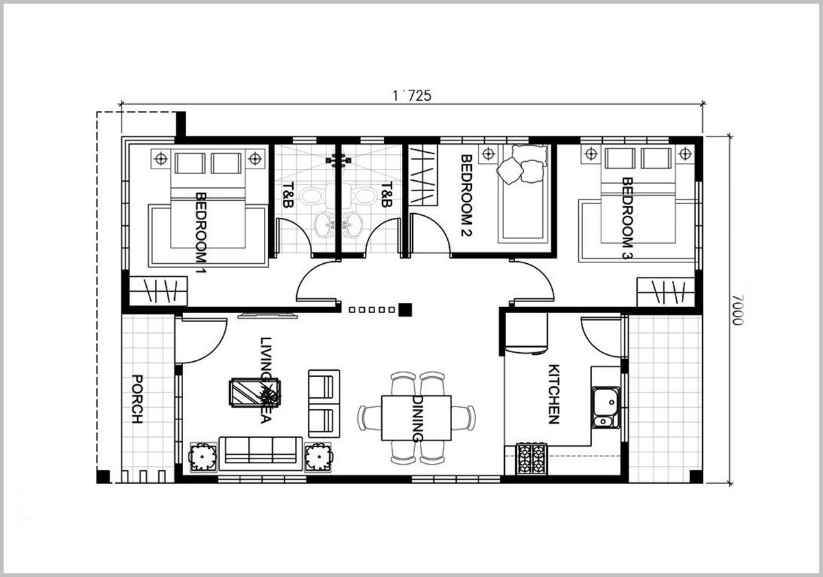 Bản vẽ nhà cấp 4 70m2 quyết định chi phí xây dựng