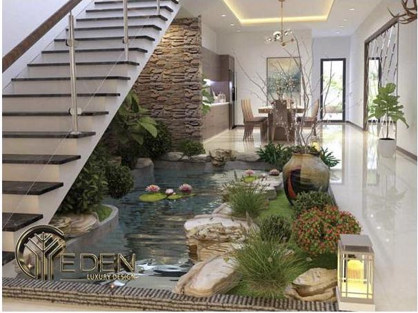Tiểu cảnh hồ nước trong phòng khách