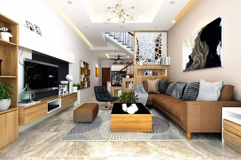 Trang trí nội thất phòng khách với phòng cách hiện đại (5)