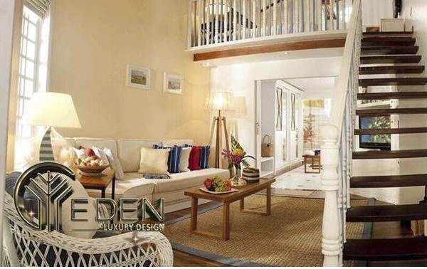 Trang trí phòng khách có cầu thang đẹp