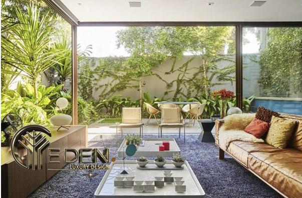 Trang trí phòng khách cho biệt thự vườn