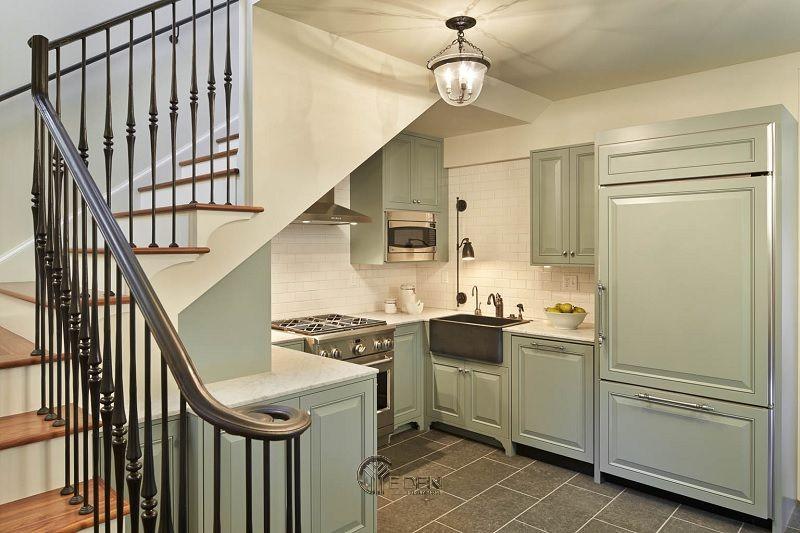Tủ bếp phong cách tối giản với gam màu xanh lá pastel nhẹ nhàng mang đến dáng vẻ nhẹ nhàng, tươi mới nhưng không kém phần trẻ trung. Mẫu ý tưởng thiết kế tủ bếp này phù hợp với những bạn trẻ yêu thích phong cách tối giản.