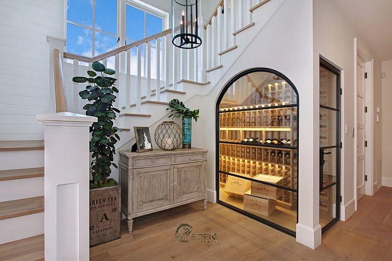 Mẫu tủ rượu âm tường mang phong cách tân cổ điển dành cho biệt thự sang trọng