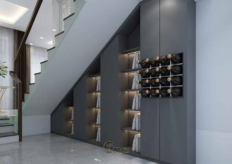 Mẫu tủ rượu âm tường hiện đại với gam màu xám sang trọng cho biệt thự