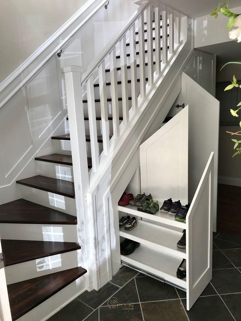Mẫu tủ giày dạng kéo với không gian lưu trữ rộng. Thuận tiện cho việc cất giữ nhiều giày dép của gia đình