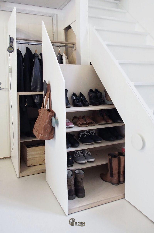 Mẫu tủ giày, tủ áo dạng kéo với không gian lưu trữ rộng. Thuận tiện cho việc cất giữ nhiều giày dép, áo khoác của gia đình