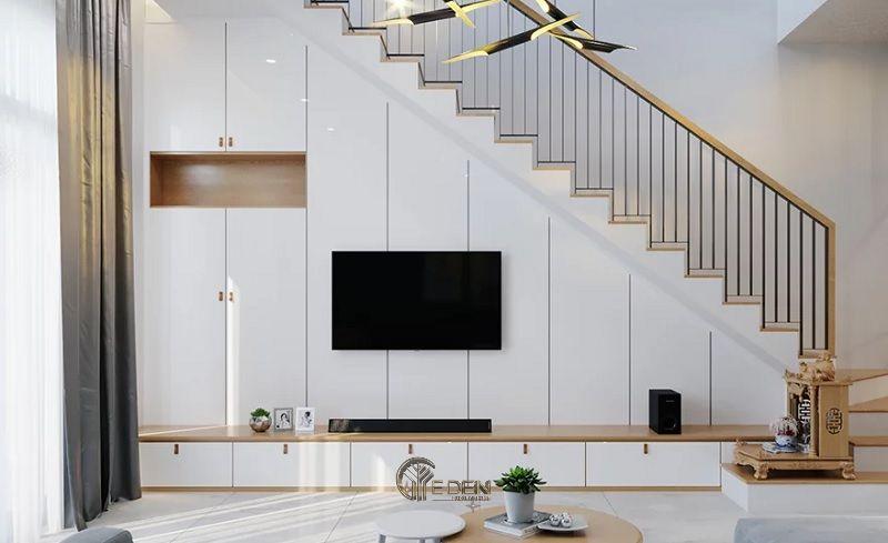 Mẫu thiết kế kệ tivi dưới gầm cầu thang (6)