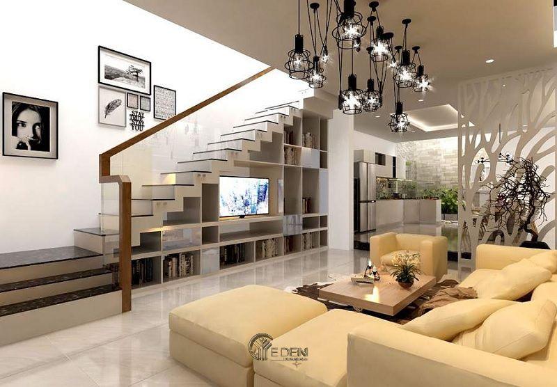 Mẫu thiết kế kệ tivi dưới gầm cầu thang (5)