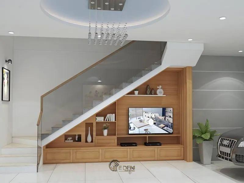 Mẫu thiết kế kệ tivi dưới gầm cầu thang (8)