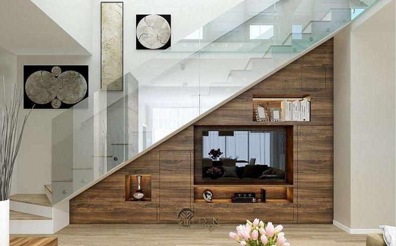 Mẫu thiết kế kệ tivi dưới gầm cầu thang (7)