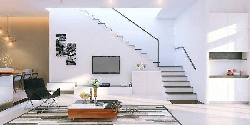 Mẫu thiết kế kệ tivi dưới gầm cầu thang cho biệt thự hiện đại(1)