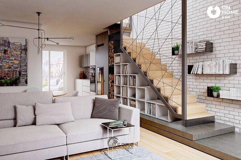 Thiết kế giá sách trang trí dưới gầm cầu thang mang phong cách hiện đại