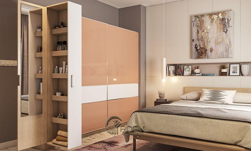 Mẫu thiết kế phòng ngủ nhỏ. Gia đình nên áp sát tủ vào tường tránh để khoảng trống sẽ tạo ra thế chênh vênh, không điểm tựa gây ra phong thủy không tốt
