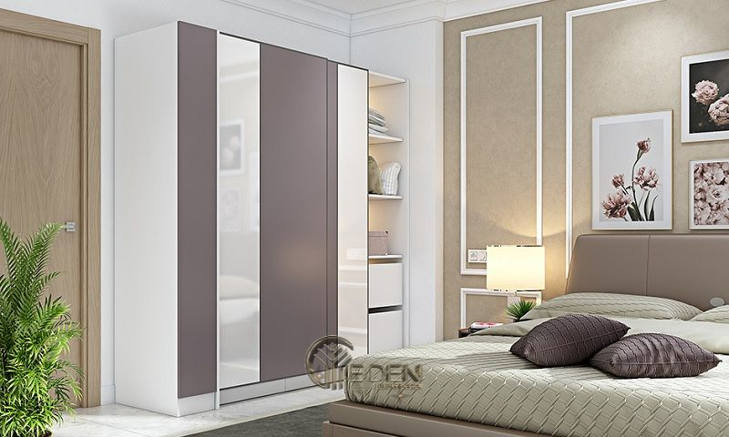 Mẫu thiết kế phòng ngủ nhỏ cho các cặp vợ chồng. Bằng việc sử dụng các gam màu nhẹ, ấm sẽ tạo ra sự hài hòa, êm ái và thoải mái, giúp cho không gian trở nên hiện đại nhưng không kém phần sang trọng