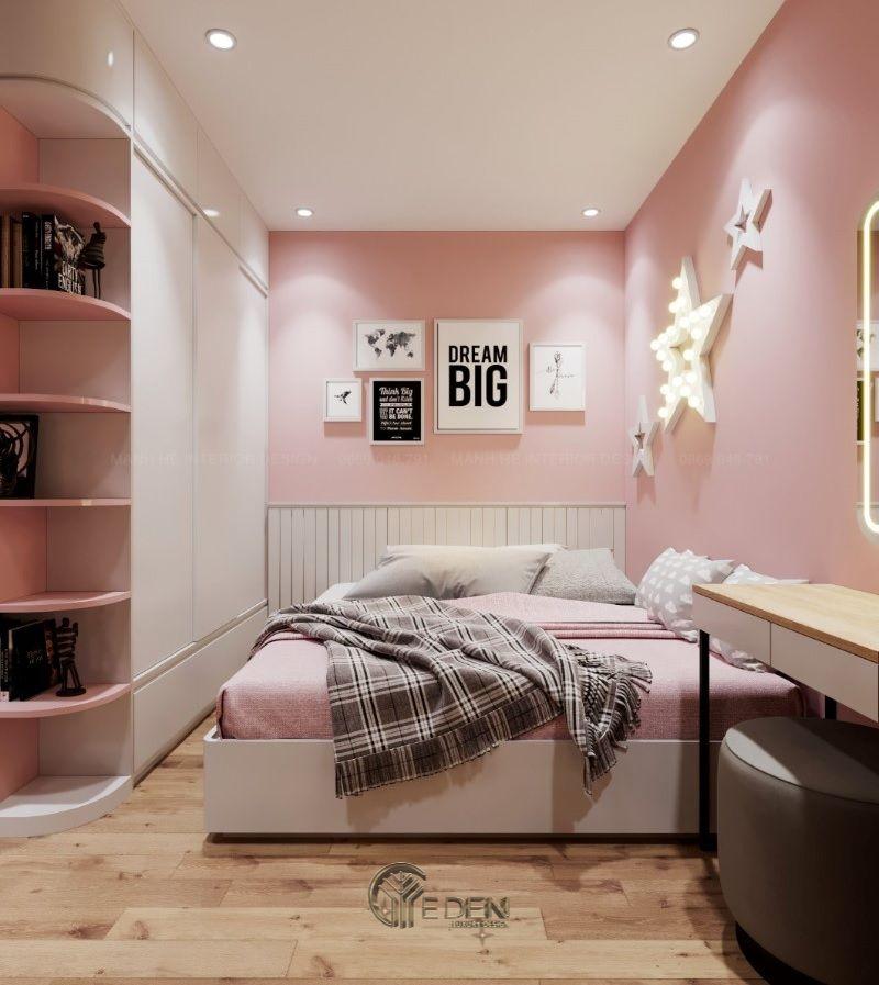 Mẫu thiết kế phòng ngủ nhỏ trẻ em. Màu tủ trắng kết hơp với sắc hồng sẽ khiến cho các bé gái vô cùng yêu thích