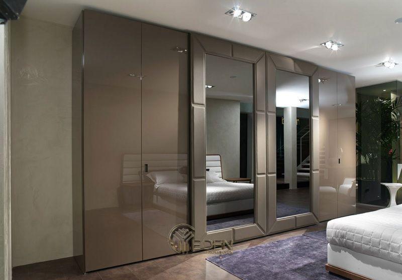 Mẫu thiết kế phòng ngủ với tủ quần áo rộng, giúp chho gia chủ thoải mái chứa đựng quần áo, giày dép, mỹ phẩm...