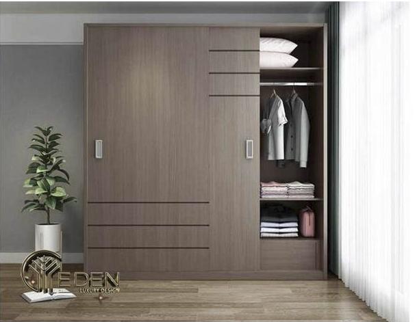 Tủ quần áo gỗ ép cửa lùa sang trọng, hiện đại