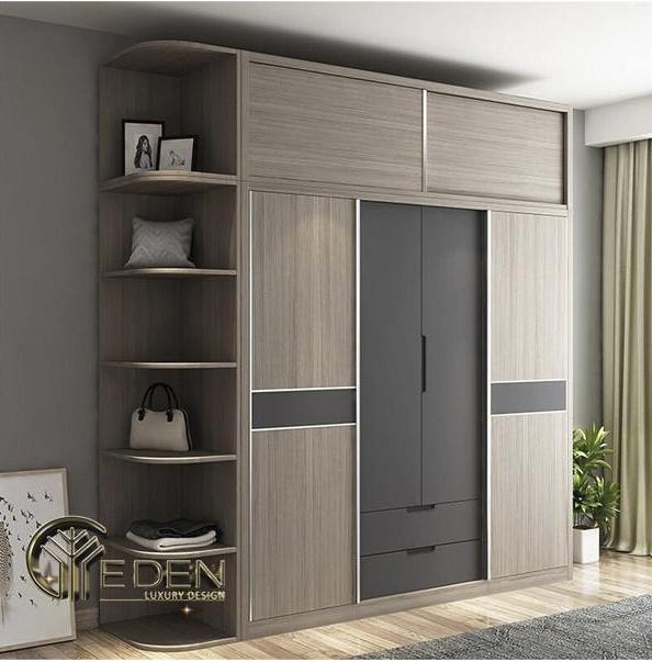 Tủ quần áo gỗ ép hiện đại, tiện nghi