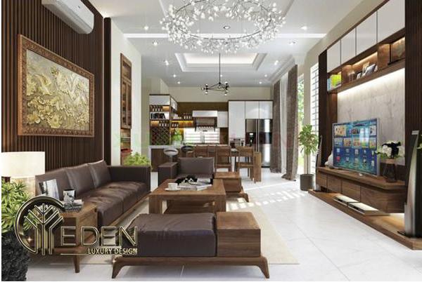 Vách ốp tường trang trí phòng khách bằng gỗ sang trọng, hiện đại