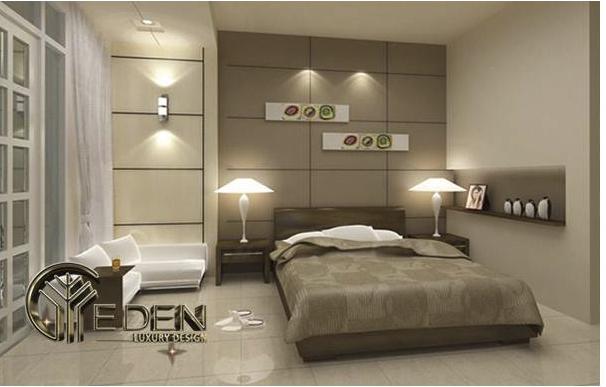 Vách ốp tường trang trí phòng ngủ đơn giản, hiện đại