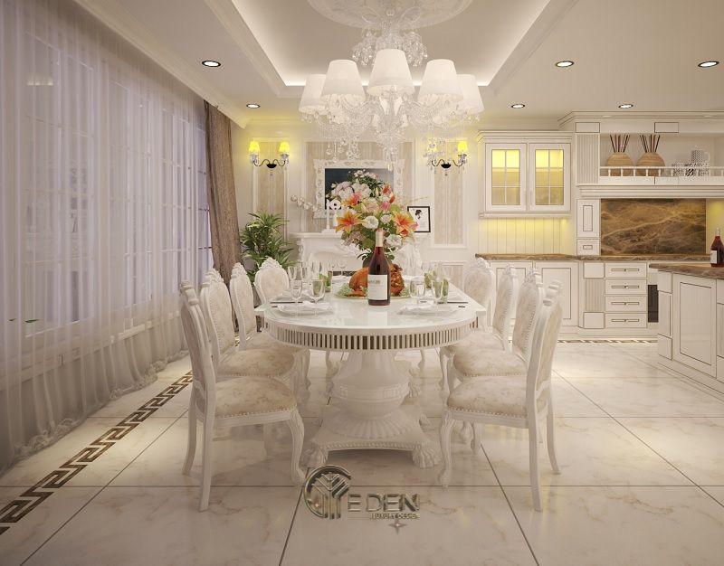 Mẫu bàn ăn cổ điển với gam màu trắng ngà