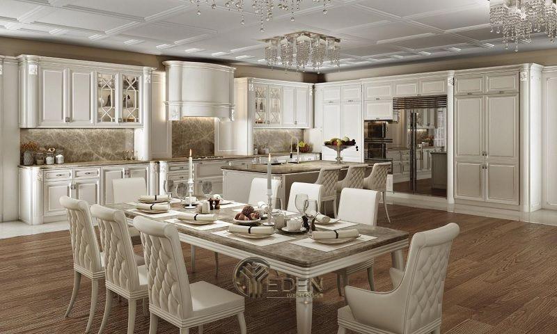 Mẫu bàn ăn cổ điển sang trọng biến không gian thành cung điện tráng lệ