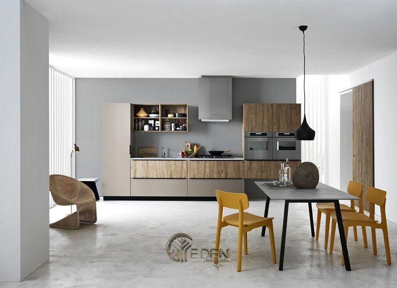 Mẫu bàn ăn tối giản cho căn hộ chung cư mini. Lựa chọn cân ghế, chân bàn thong dài sẽ tạo ra không gian rộng rãi hơn