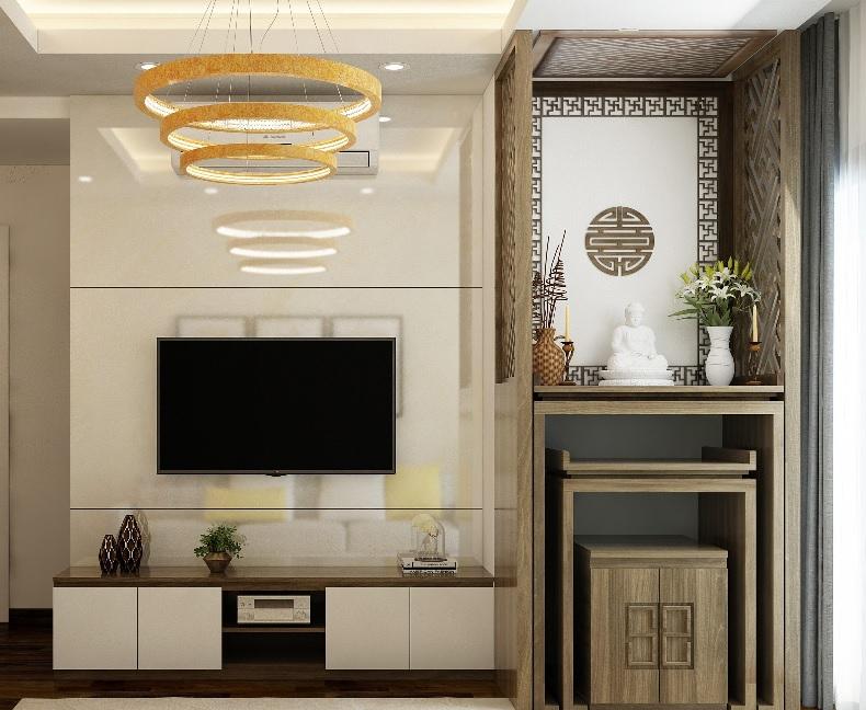 Mẫu bàn thờ chung cư phù hợp với không gian lớn, hiện đại