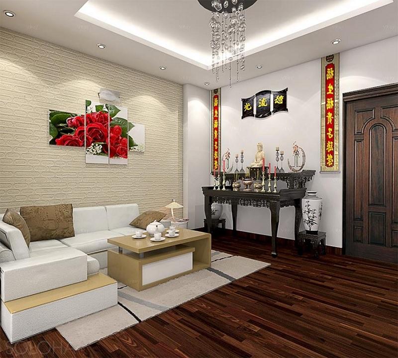 Mẫu bàn thờ chung cư phù hợp với không gian lớn