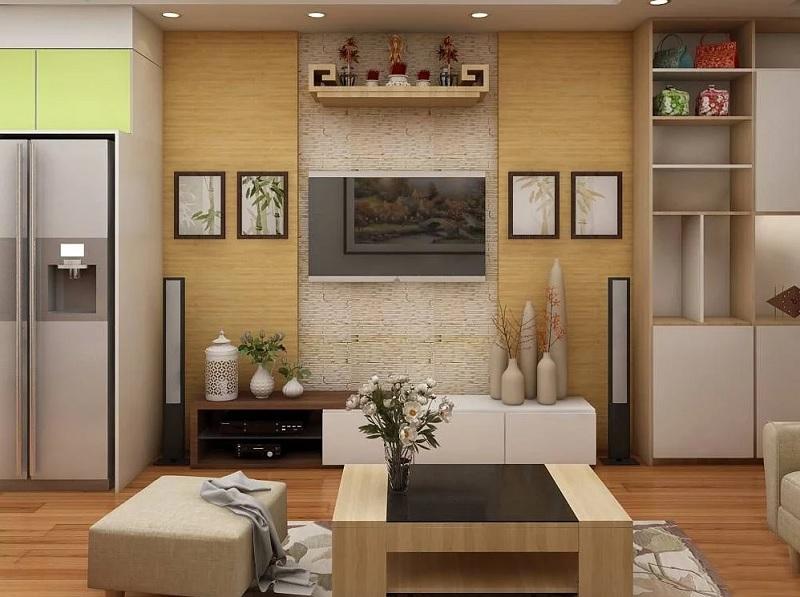 Mẫu thiết kế kệ bàn thờ treo tường cho không gian rộng