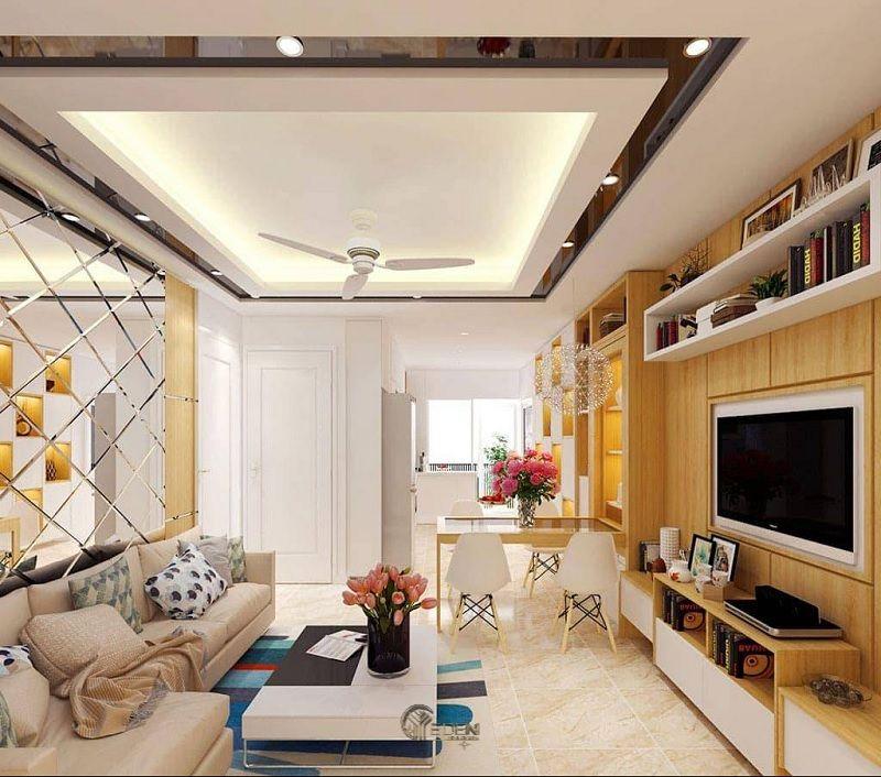 Mẫu trần thạch cao giật cấp hiện đại, sang trọng cho phòng khách (10)