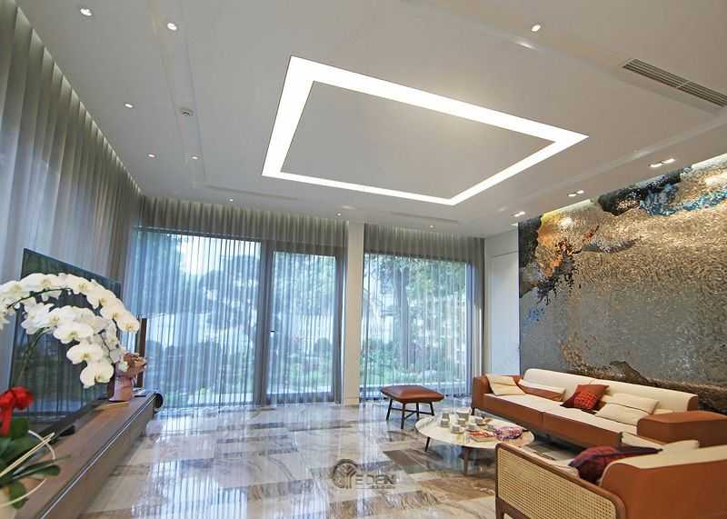 Mẫu trần thạch cao giật cấp hiện đại, sang trọng cho phòng khách (9)