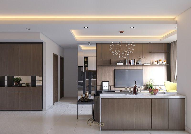 Mẫu trần thạch cao giật cấp hiện đại, sang trọng cho phòng bếp