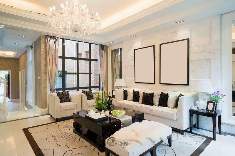 Mẫu trần thạch cao giật cấp hiện đại, sang trọng cho phòng khách (6)