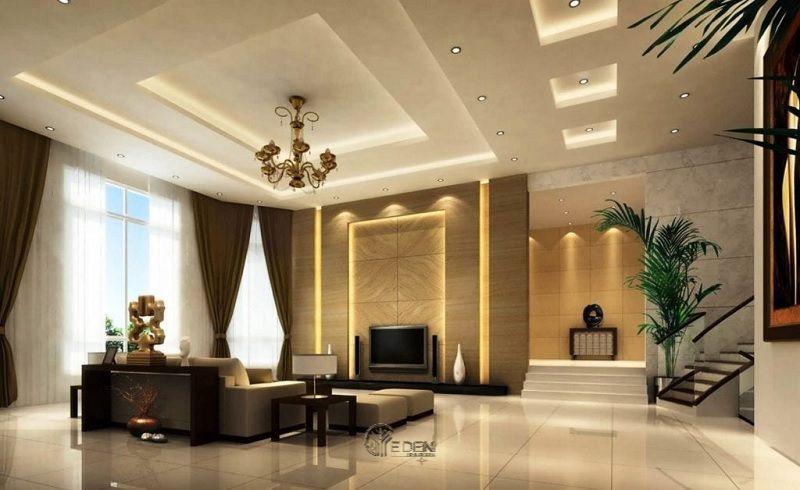 Mẫu trần thạch cao giật cấp hiện đại, sang trọng cho phòng khách (5)